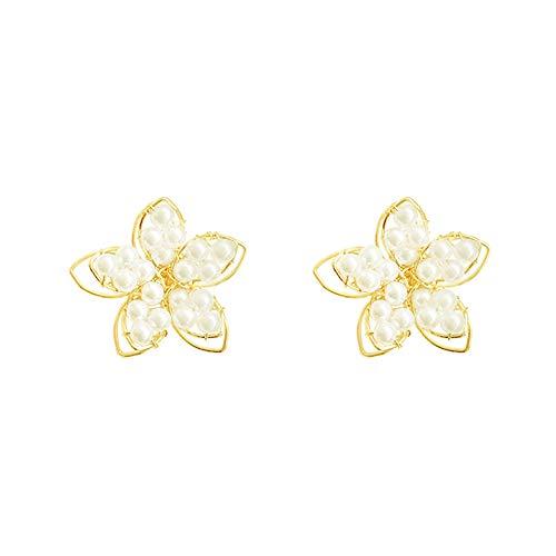 Hypoallergenic Faux Pearl Stud Earrings Gold Bowknot Flower Starburst Stud Earrings Fashion Earrings for Women (Flower)