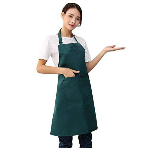 YUENA CARE Delantal de Cocina Ajustable Mandil Camarero con Bolsillos para Hombre Mujer el Hogar Cocina Cafe Pintura Cocinero Chef Verde 77 x 66 cm