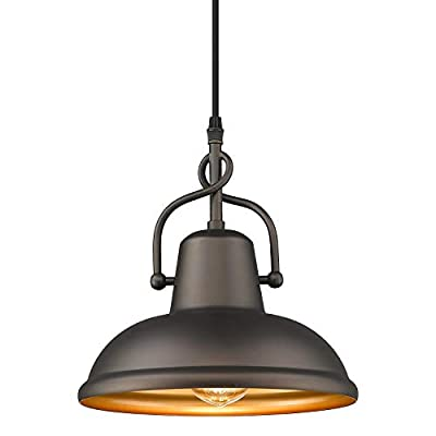 FEMILA Farmhouse Pendant Light, Industrial Barn Light Fixture Adjustable Hanging Cord Indoor/Outdoor Use, Oil Rubbed Bronze Finish, 4FY14-MP ORB