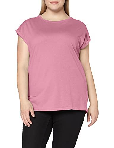 Urban Classics Ladies Extended Shoulder Tee Maglietta a Maniche Corte, T-Shirt Oversize con Spalle Scoperte, 100% Cotone Jersey, Abbigliamento Casual, coolpink, L Donna