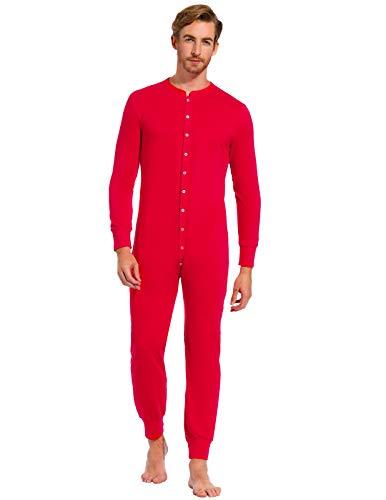 Men Pajama Set Long Sleeve One Piece Crew Neck Cotton Sleepwear for Xmas Red XL