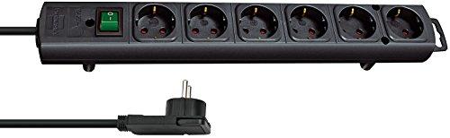 Brennenstuhl Comfort-Line Plus, stekkerdoos, 4-voudig (met platte stekker, schakelaar, 2 m kabel en extra brede afstanden van de stopcontacten), kleur: wit Single 6-fach zwart