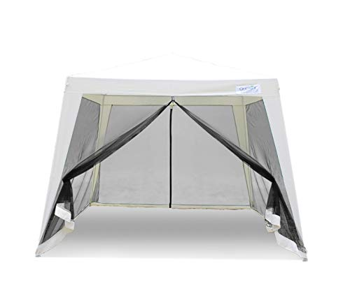 Quictent 10'x 8' Outdoor Canopy Gazebo with Netting,Screen House Party Tent Mesh Side Wall White