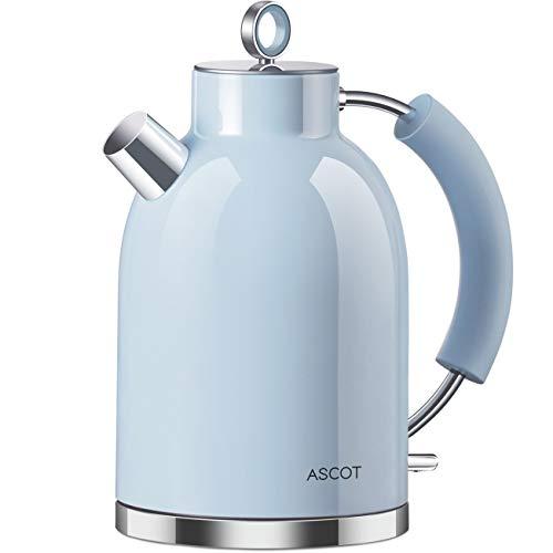Hervidor de agua de acero inoxidable ASCOT, hervidor eléctrico de 2200 W, 1,6 litros, diseño retro, tetera inalámbrica, sin BPA, protección contra ebullición en seco, apagado automático, (azul)