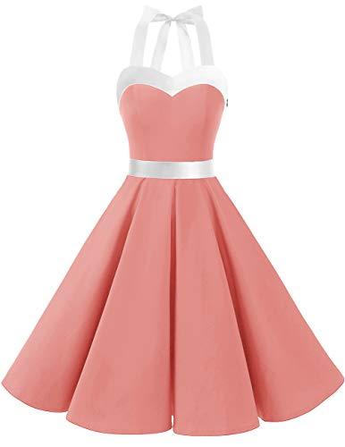 DRESSTELLS Damen Neckholder 1950er Vintage Retro Rockabilly Kleider Petticoat Faltenrock Cocktail Festliche Kleider Blush White XL