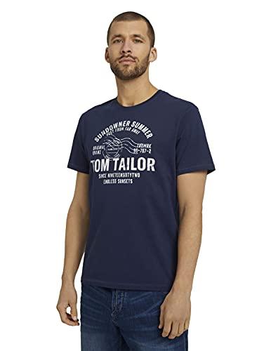 TOM TAILOR Herren 1026057 Logo T-Shirt, 10932-Sailor Blue, L