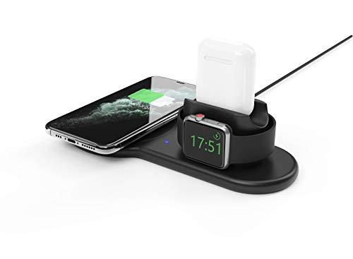 Power Technology - Base base de cargador 3 en 1 compatible con Apple, cargador de inducción de 10 W, cargador compatible con Apple Watch y cuna de carga compatible con Airpods