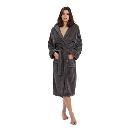 Lumaland Luxury Mikrofaser Bademantel mit Kapuze für Damen und Herren verschiedene Größen und Farben Grau L