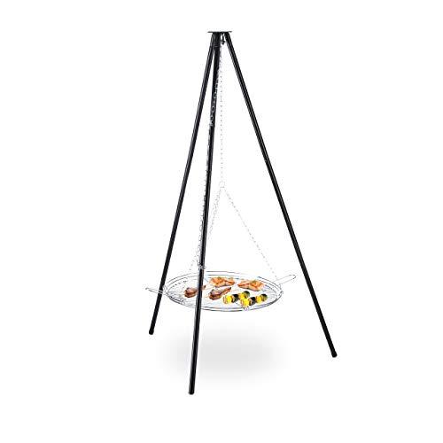 Relaxdays Schwenkgrill, 52 cm Grillrost, Stahl, Kettenzug, höhenverstellbar, Dreibein HxD: 151 x 100 cm, schwarz-Silber