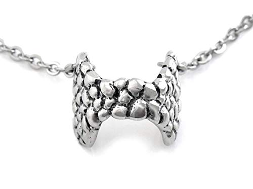 Thyroid Gland Choker Style Necklace, Anatomical Jewelry in Pewter