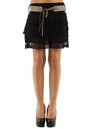 jowiha Volant Minirock mit Spitze und Gürtel Größe S-L (Schwarz)