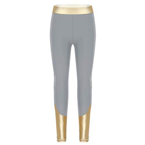 Agoky Leggings Mallas Largos Deportivos Niñas para Gym Yoga Pantalones Elásticos Deporte Entrenamiento Correr Chica Gris 5-6 años