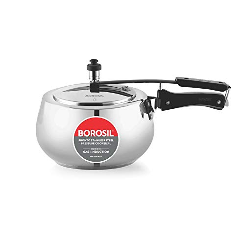 Borosil Pronto Induction Base Stainless Steel Pressure Cooker 3L