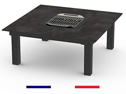 Table Basse LA GARRIGUE - 900 x 900 x 390mm - Table 2 à 4 Personnes - Table Barbecue - Table brasero - Table extérieure - Table Multifonctions, Structure ALU thermolaquée, Plateau HPL