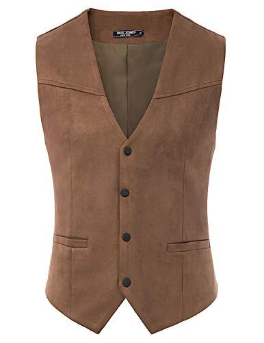 Mens Western Suede Leather Vest Slim Fit Casual Semi-formal Waistcoat 2XL Coffee
