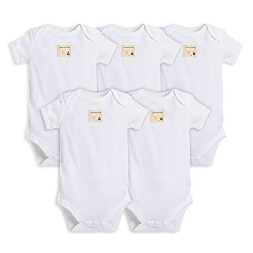 Burt's Bees Baby - Set of 5 Bee Essentials Solid Short Sleeve Bodysuits, 100% Organic Cotton, Cloud (6-9 Months)