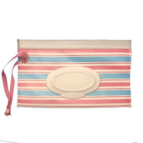 Bolsa de toallitas húmedas para bebé de EVA de dibujos animados, rayas de peces pequeños, maquillaje, estuche de contenedor de concha de limpieza portátil, caja reutilizable para niños, raya roja