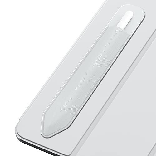 MoKo Elastisch Stifthalter Kompatibel mit Apple Pencil 1/2, Stylus Hülle Rückseite Aufkleber für iPad 8. Gen 2020/7. Gen 10,2undiPad Air 4. GenundiPad Pro 11/12,9 2021/2020, Silber Grau