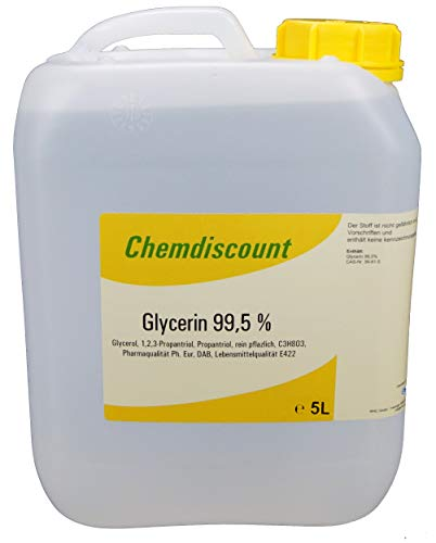 Glycerin 99,5{2d08b0ffa5327b4b570ee4461940ee8f5106a6a2fc9a1eafd10cafd0bed719ba} 5Liter (5000ml) pflanzlich entspricht Pharmaqualität USP, VERSANDKOSTENFREIi! Glyzerin Glycerol vegetable VG