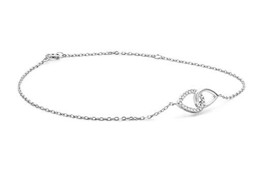 Miore Armband Damen Diamant Armband Kette Weißgold 9 Karat / 375 Gold Elegantes Armband mit doppeltem Kreis Diamanten Brillanten 0.09 Ct, Länge 18 cm Armschmuck