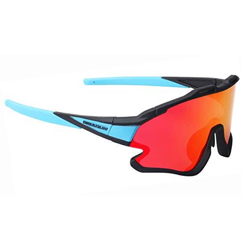 GIEADUN Gafas Ciclismo Polarizadas con 3 Lentes Intercambiables UV 400 Gafas,Corriendo,Moto MTB Bicicleta Montaña,Camping y Actividades al Aire Libre para Hombres y Mujeres TR-90 (Azul Negro)