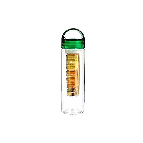 Water Bottle, Fruit Water Bottle Sports Fruit rietjesbeker Deksel en Infusion Basket 24oz (Color : Green)