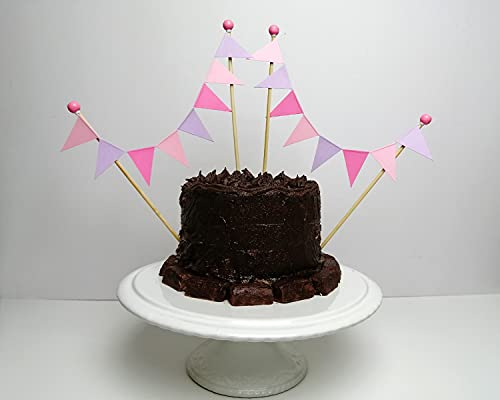 amazing buntings, Kuchendekoration, Wimpelgirlanden-Tortenaufleger für Kuchen & Torten, Vollständig Zusammengebaut, Flieder, Rosa, 2er-Set