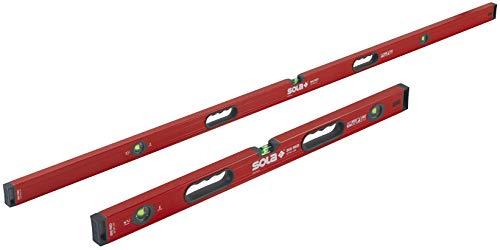 SOLA LSB7832M Big Red Aluminum Box Beam Level Magnetic Jamb Set with 3 60% Magnified Vials, 32 & 78-Inch