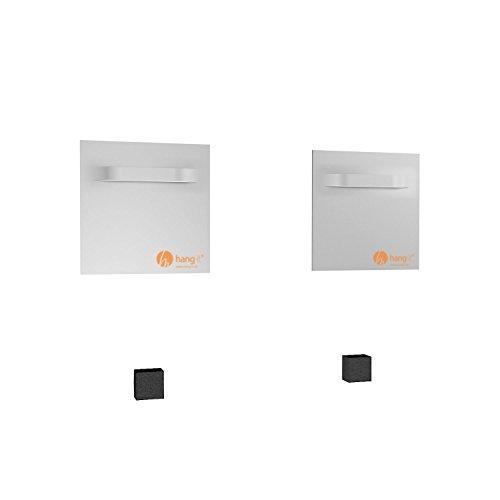 hang-it Spiegel Aufhänger Set inkl. 2 Spiegelaufhänger - 100x100mm Spiegelhalter und 2 Abstandshalter