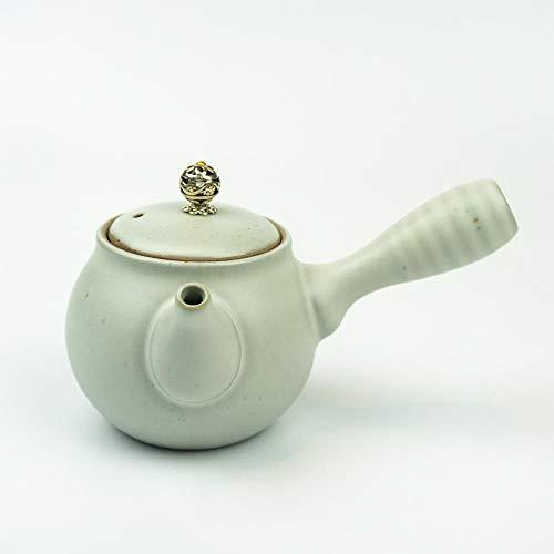 Klassische Japanische Kyusu Teekanne (Elfenbein) mit 250 ml | Kyusu Teekanne aus Keramik ideal für japanischen Tee