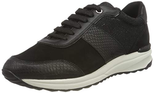Geox D Airell A, Zapatillas Baja Mujer, Negro, 37 EU