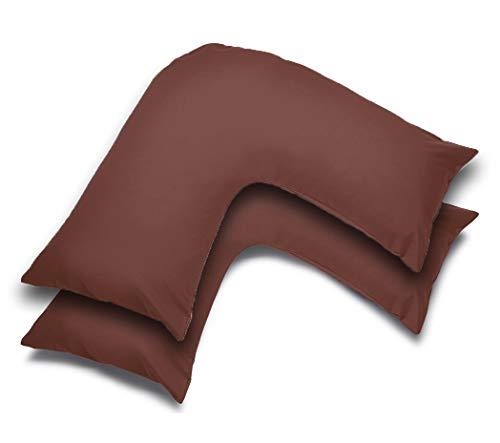 Grace Home Fundas de almohada lisas en forma de V – suaves al tacto, fáciles de cuidar, fundas de polialgodón para almohada ortopédica, embarazo, lactancia, paquete de 2 (chocolate)