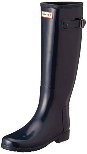 Damen Hunter Original Refined Tall Gloss Schnee Winter Gummistiefel - Marine - 36