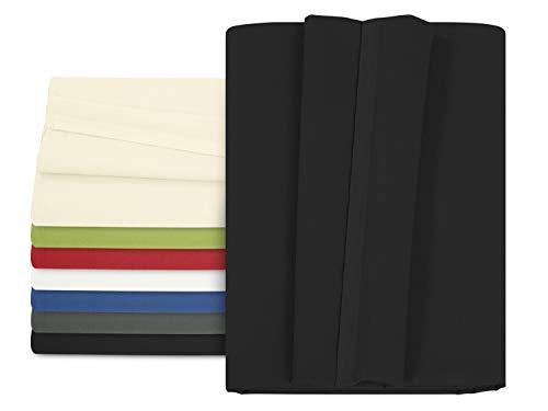 npluseins Betttuch - Haustuch - Bettlaken - aus 100% Baumwolle in 7 ausgesuchten Farben - Laken ohne Gummizug - Einheitsgröße von ca. 150 x 250 cm, schwarz