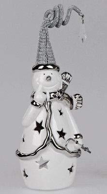 Formano Windlicht Schneemann ca. 25cm Keramik + Metall aus Weiss-glasierter Keramik mit Durchbruch und silbernen Metall-Elementen, handgefertigt
