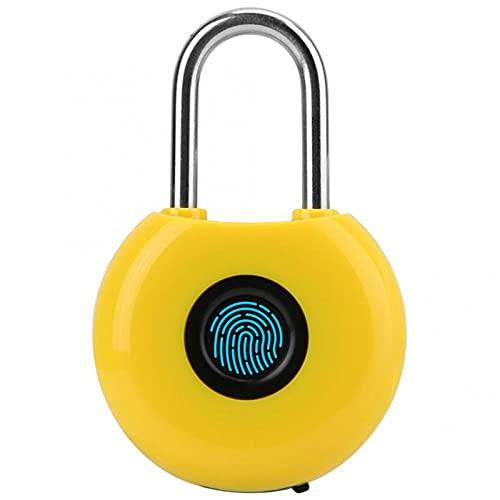 Candado de huella dactilar inteligente sin llave y biométrico IP65 resistente al agua antirrobo cerradura de seguridad para exteriores, gimnasio, escuela, gabinete, garaje (tamaño único; color: rojo)
