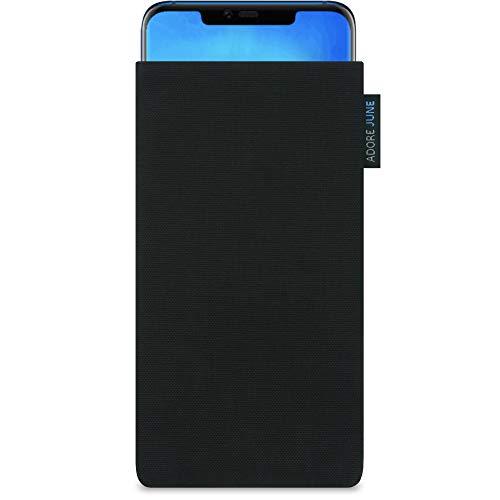 Adore June Classic Schwarz Tasche für Huawei Mate 20 Pro Handytasche aus beständigem Cordura Stoff | Robustes Zubehör mit Bildschirm Reinigungs-Effekt | Made in Europe