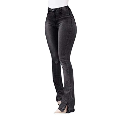 Mujer Pantalones Acampanados Vaqueros Cintura Alta Slim Fit Denim Pantalones Largos Sexy Push Up Pantalones de Campana Damas Agujero Rasgado Jeans Pantalones de Pierna Ancha