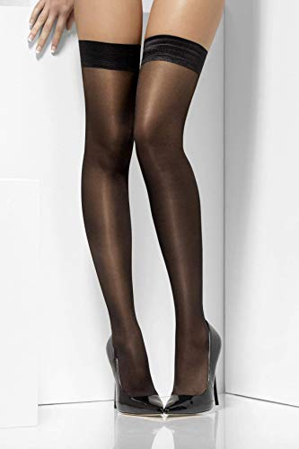 Fever Women's Sheer Shine Hold-Ups with Silicone Band, Black, One size,5020570038468