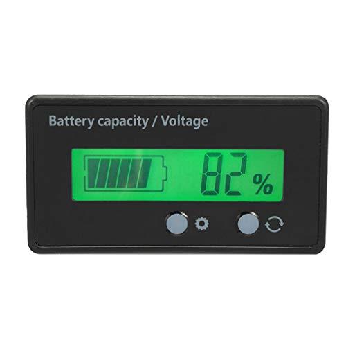 nobrand 12V-48V Blei-Säure-Lithium-LCD-Voltmeter Meter Batterie-Kapazität Tester Anzeige Analyzer 12V 24V 48V,Grün,61.3 * 33.3 * 13.5mm