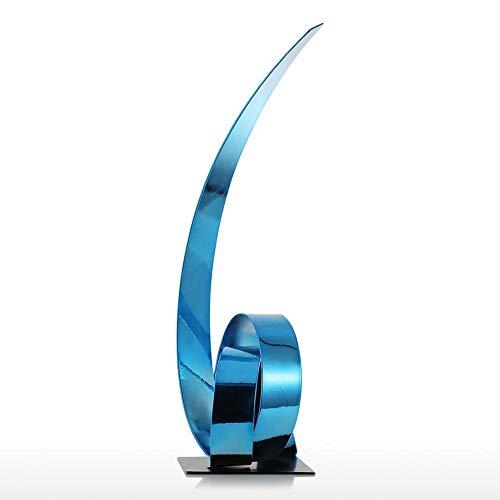 erddcbb Escultura de Metal Blue Ribbon, Escultura de artesanía de Hierro Abstracta Moderna y Simple, Adecuada para Oficina/Estudio/Sala de Estar/Sala de reuniones/Bar (19 y Tiempos; 15 y Tie