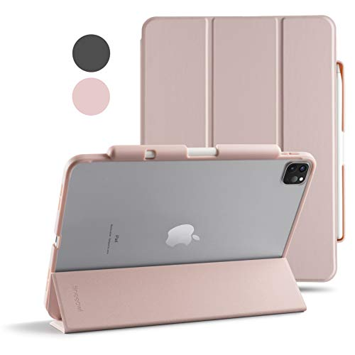 TineeOwl Mocha (Improved) iPad Pro 11 case 2020 & 2018 (2nd & 1st Generation) Ultra Slim Matte Case with Pencil Holder + Tri-fold Smart Cover, Absorbs Shock, Lightweight (Pale Pink)
