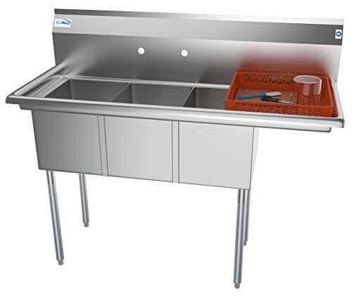 KoolMore - SC121610-12R3 3 Compartment Stainless Steel NSF Commercial Kitchen Sink with Drainboard - Bowl Size 12 x 16 x 10 Silver