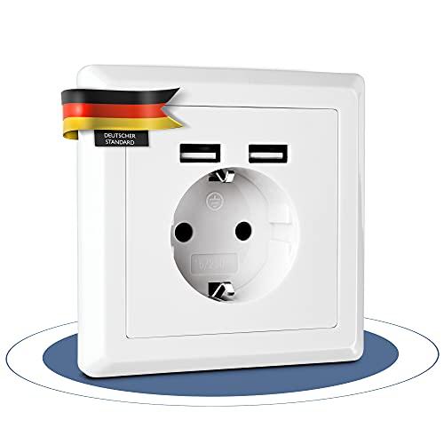 sunjk Enchufe de pared USB de alta calidad para empotrar – [250 V/16 A, 50 Hz] – Enchufe con conector USB A [5 V/2,4 A] como base de carga – Blanco puro – Puerto USB de pared para smartphone