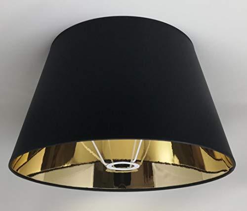 40 cm Schwarzer Stoff Lampenschirm mit Goldfutter Handgemacht für Tisch, Stehlampe