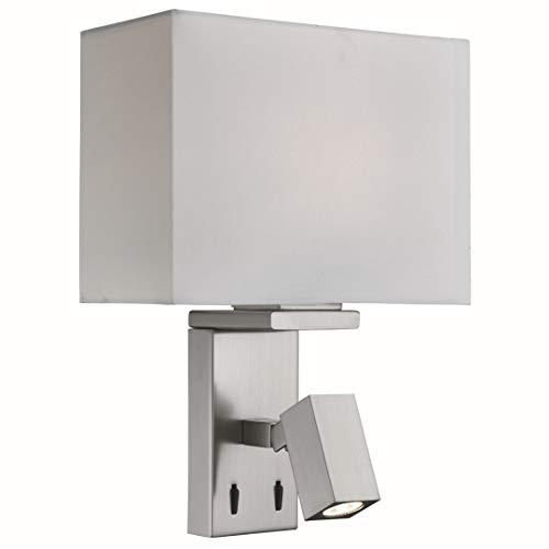 LED Wandleuchte in Edelstahl Silber Bauhausstil 2xE27 bis zu 40 Watt 230V aus Stoff & Schlafzimmer Küche Wohnzimmer Esszimmer Lampen Leuchte Beleuchtung