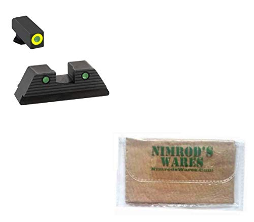 Nimrod's Wares AmeriGLO Trooper Night Sights Set Compatible with Glock 17 19 19X 26 45 Gen5 GL-821 Bundle with Microfiber Cloth