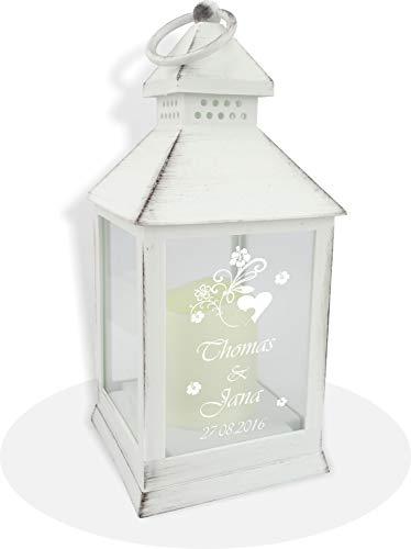 Sehr schöne weiße LED Laterne inkl. Wunschgravur, Wunschtext. Die Geschenkidee! z.B.zur Hochzeit, Geburtstag,