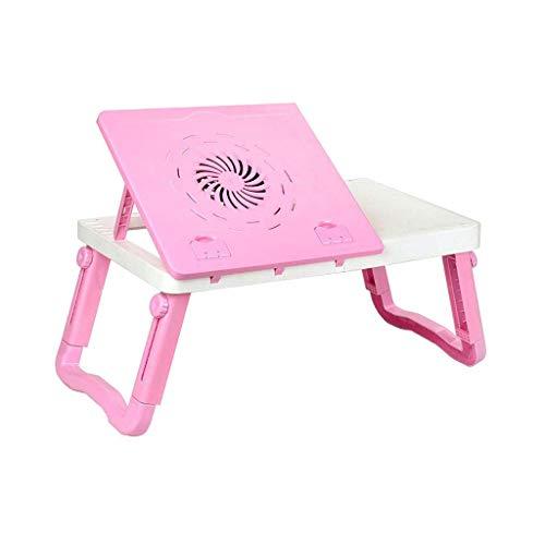 WMYATING Mesa plegable portátil mesa escritorio cama plegable altura y ángulo ajustable bandeja de desayuno con ventilador de refrigeración