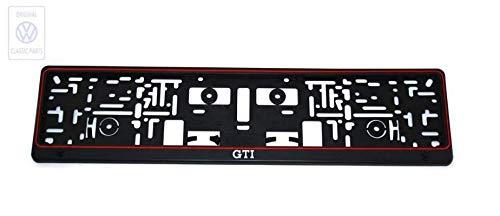 GTI Kennzeichenträger Kennzeichenhalter Kennzeichenhalterung im Original Sportwagen Design | Schwarz ROT | 1 STK + Verriegelungswerkzeug! |HIER PLUS Extra Schlüsselring Mit Schraubverschluss | SET